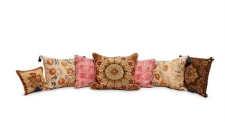 SEVEN EMBROIDED AND NEEDLEWORK CUSHIONS