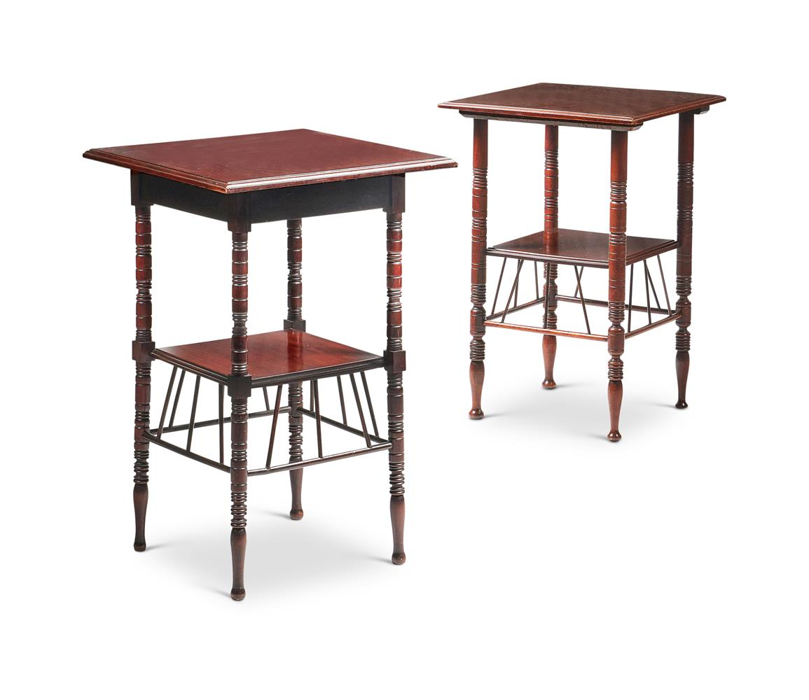 TWO SIMILAR LIBERTY STYLE MAHOGANY AND WALNUT OCCASIONAL TABLES