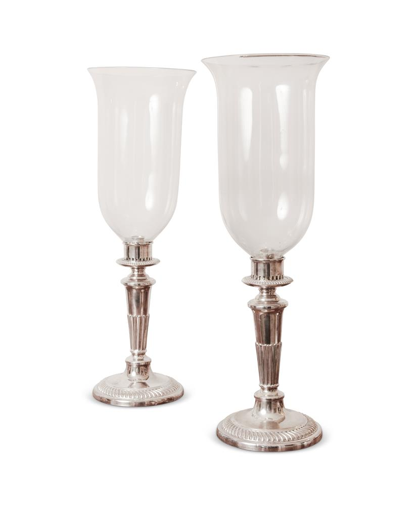 A PAIR OF GEORGE II STYLE SILVER PLATED STORM LIGHTS