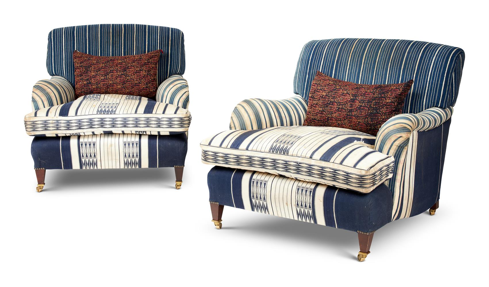 A PAIR OF HOWARD & SONS SYTLE UPHOLSTERED EASY CHAIRS - Image 2 of 2