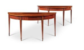 A PAIR OF GEORGE III MAHOGANY DEMI-LUNE SIDE TABLES