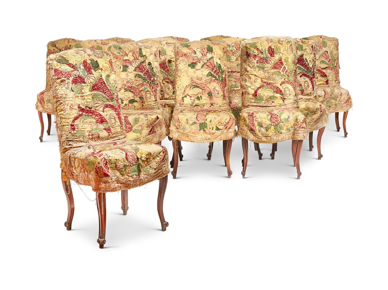 A SET OF FOURTEEN LOUIS XV STYLE WALNUT AND UPHOLSTERED SIDE CHAIRS - Image 2 of 3