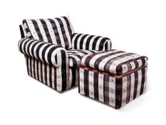 A STRIPED UPHOLSTERED ARMCHAIR AND FOOTSTOOL, ROBERT KIME