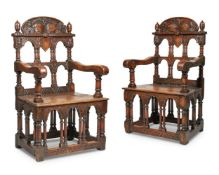 A PAIR OF THRONE ARMCHAIRS, 20TH CENTURY