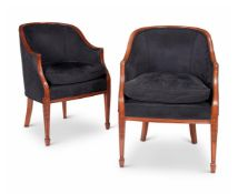 A PAIR OF UPHOLSTERED ARMCHAIRS, IN GEORGE III STYLE, 20TH CENTURY
