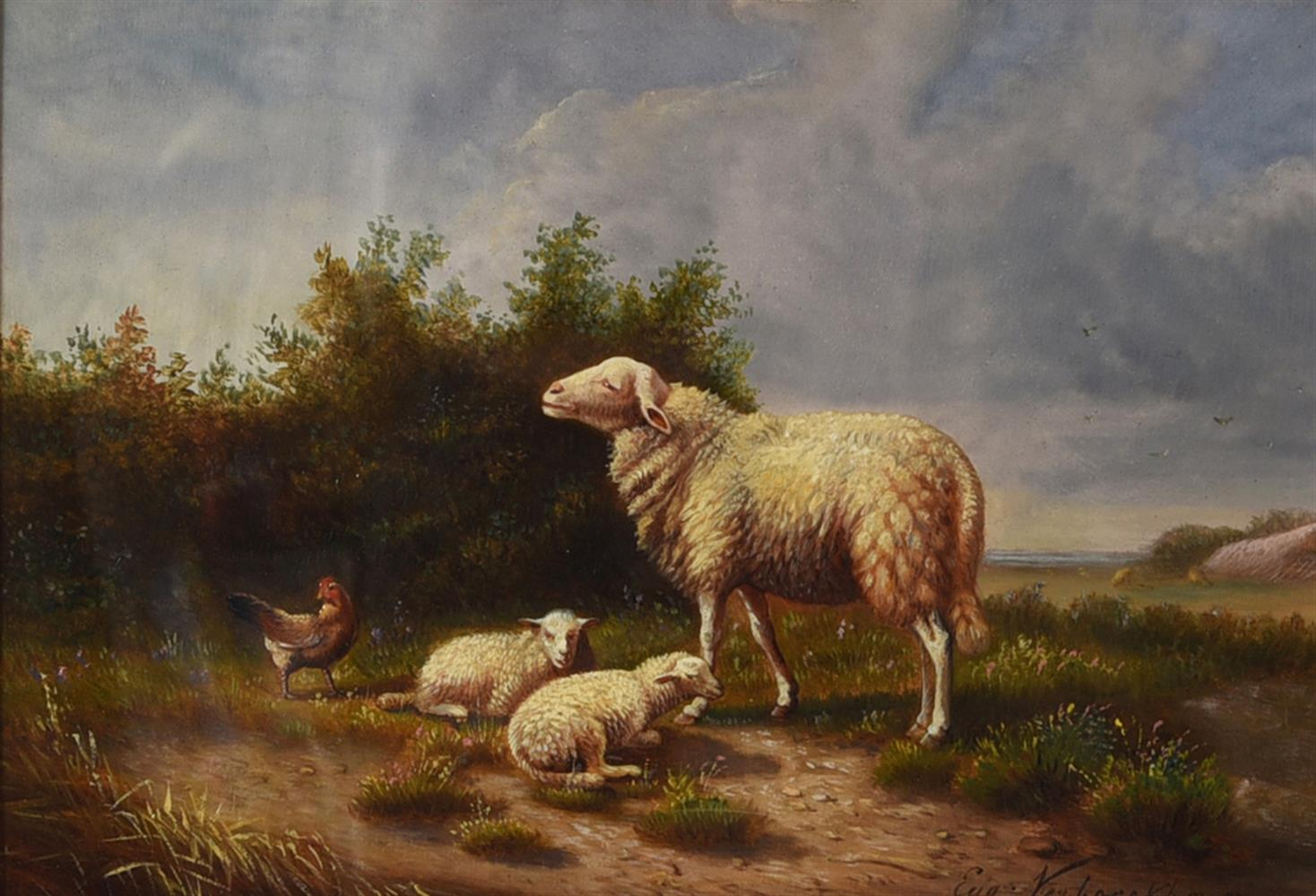 FOLLOWER OF EUGENE VERBOEKHOEVEN, SHEEP, LAMBS AND CHICKEN IN A LANDSCAPE - Image 2 of 3