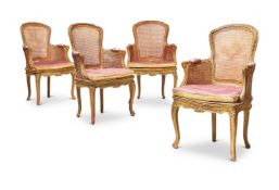 A SET OF FOUR LOUIS XV STYLE BEECHWOOD AND PAINTED FAUTEUILS