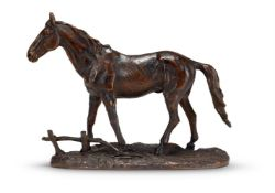 A PATINATED BRONZE MODEL OF A HORSE, PROBABLY FRENCH, LATE 19TH CENTURY