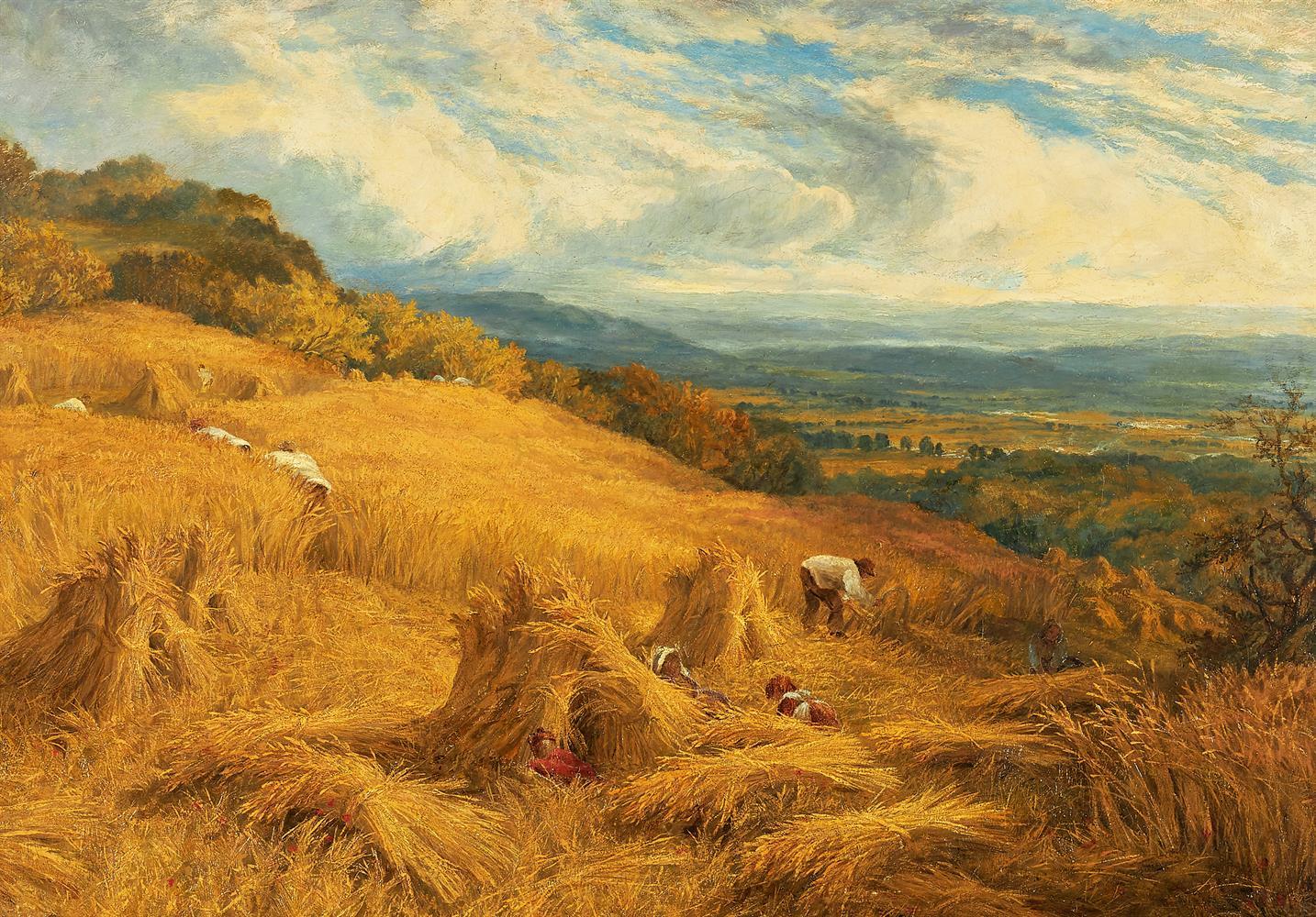 CIRCLE OF JOHN CLAYTON ADAMS (BRITISH 1840-1906), HARVESTING THE CORN - Image 2 of 2