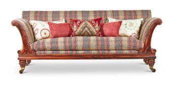 Y A LARGE WILLIAM IV ROSEWOOD AND UPHOLSTERED SOFA, CIRCA 1835