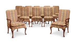 Y A SET OF TWENTY-TWO GEORGE II STYLE MAHOGANY FRAMED PANEL BACK DINING CHAIRS