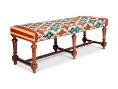 AN OAK RECTANGULAR STOOL IN WILLIAM & MARY STYLE