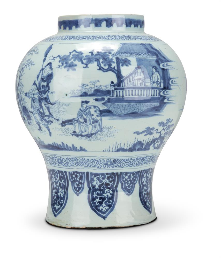 A FRANKFURT BLUE AND WHITE FAIENCE VASE, CIRCA 1700 - Image 2 of 2