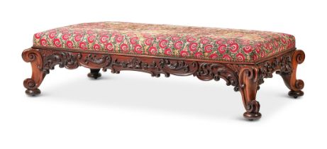 Y A LARGE EARLY VICTORIAN CARVED ROSEWOOD STOOL