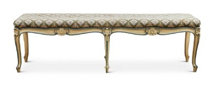 A PAINTED LONG STOOL IN LOUIS XV STYLE, EARLY 20TH CENTURY