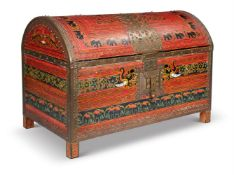 A 17TH CENTURY STYLE PAINTED AND METAL BOUND CHEST