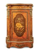Y A PAIR OF VICTORIAN FIGURED WALNUT, TULIPWOOD, MARQUETRY AND GILT-METAL MOUNTED SIDE CABINETS