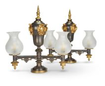A PAIR OF PATINATED METAL ARGAND LAMPS, CIRCA 1825