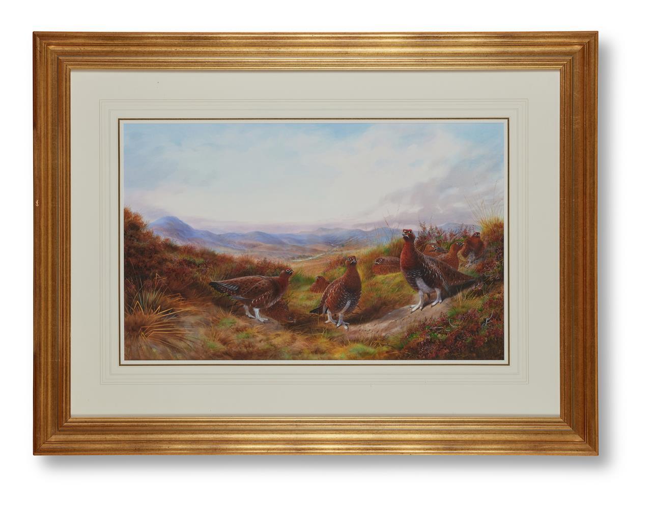λ RICHARD DAVID KRISTUPAS (BRITISH B.1954), GROUSE IN A MOORLAND LANDSCAPE