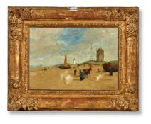 FOLLOWER OF EUGENE BOUDIN, BEACH SCENE WITH FIGURES AND TOWER