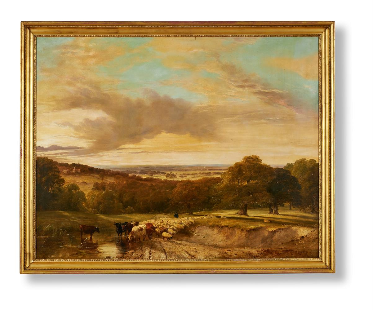 FREDERICK RICHARD LEE (BRITISH 1798-1879), CATTLE AND SHEEP IN AN EXTENSIVE LANDSCAPE