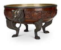 A EUROPEAN CARVED OAK AND BRONZE METAL MOUNTED JARDINIÈRE, LATE 19TH CENTURY