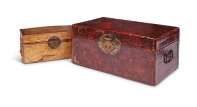A RED AND GILT JAPANNED BOX AND HINGED COVER