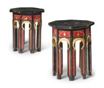 A PAIR OF OTTOMAN STYLE PAINTED OCTAGONAL OCCASIONAL TABLES