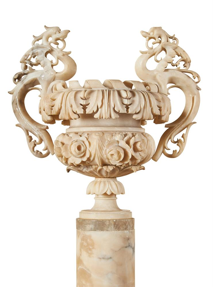 AN ITALIAN ALABASTER TWIN HANDLED URN ON PEDESTAL, 19TH CENTURY - Image 2 of 2