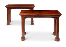 A PAIR OF EARLY VICTORIAN GOTHIC MAHOGANY SIDE TABLES