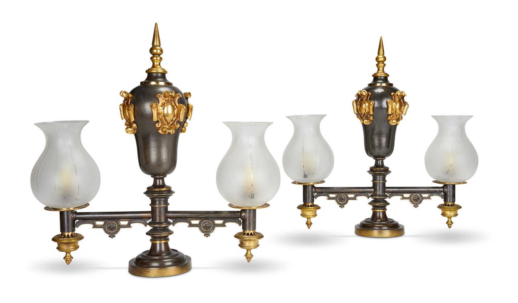 A PAIR OF PATINATED METAL ARGAND LAMPS, CIRCA 1825 - Image 2 of 2