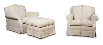 A PAIR OF BEECH AND UPHOLSTERED ARMCHAIRS AND MATCHING FOOTSTOOLS