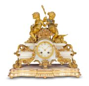 A FRENCH ALABASTER AND GILT METAL MOUNTED MANTEL CLOCKJAPY FRERES