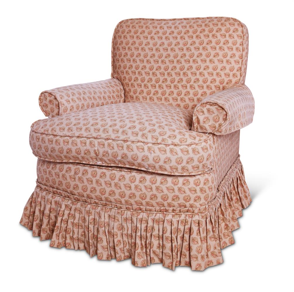 AN UPHOLSTERED ARMCHAIR, 20TH CENTURY