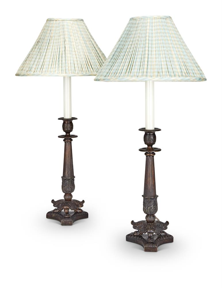 A PAIR OF MODERN PATINATED METAL CANDLESTICK LAMPS IN LOUIS PHILIPPLE STYLE