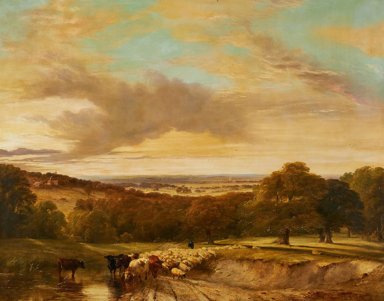 FREDERICK RICHARD LEE (BRITISH 1798-1879), CATTLE AND SHEEP IN AN EXTENSIVE LANDSCAPE - Image 2 of 2