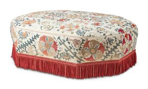 AN OCTAGONAL UPHOLSTERED CENTRE STOOL, LATE 20TH CENTURY