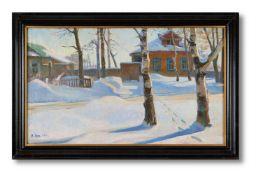 BECHA HACTYHAET (RUSSIAN B.1917), A SNOWY WINTER LANDSCAPE