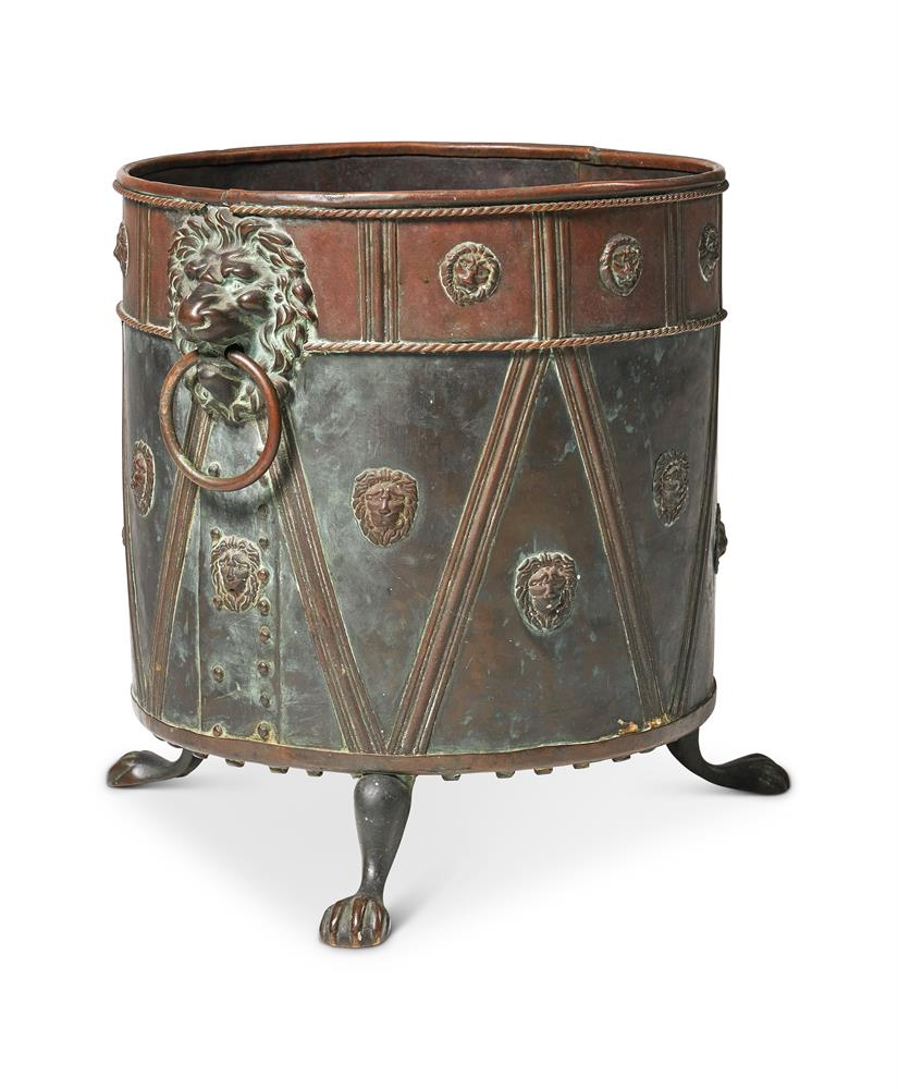 A PAINTED AND PATINATED METAL COAL BUCKET
