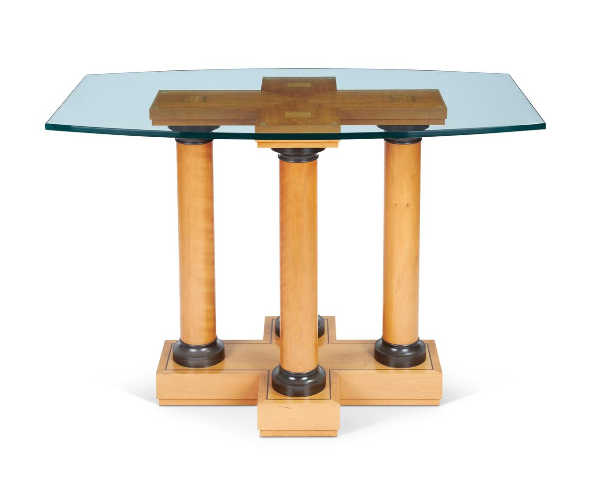 A SYCAMORE AND EBONISED CENTRE TABLE, DAVID LINLEY