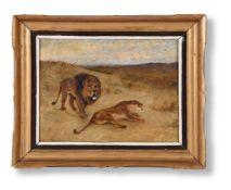 TOM NOYES LEWIS (BRITISH FL. 1835-1852), STUDY OF LION AND LIONESS