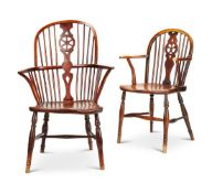 TWO YEW AND ASH WINDSOR CHAIRS, 19TH CENTURY