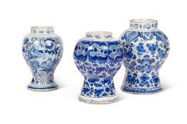 THREE DELFT BLUE AND WHITE VASES, CIRCA 1750