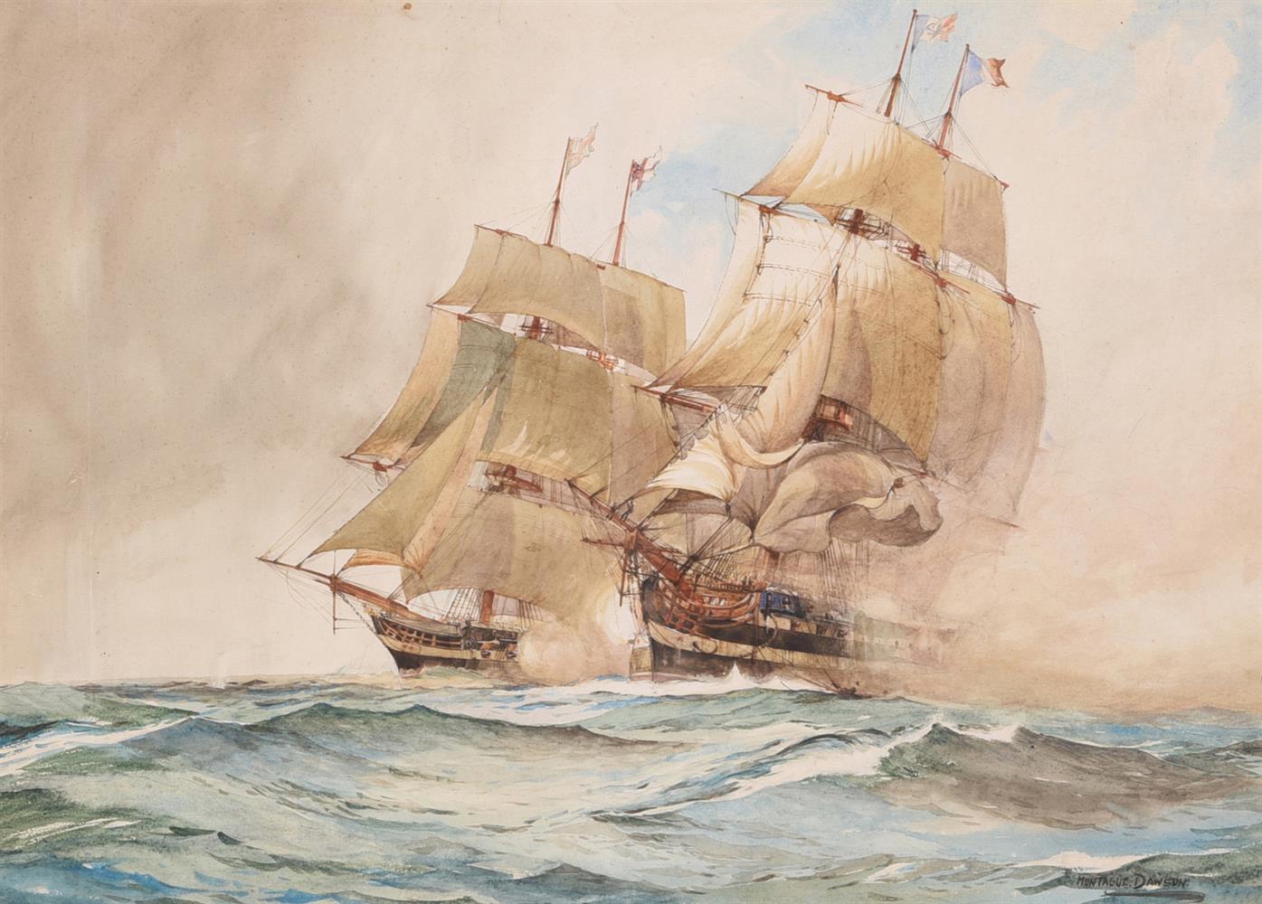 λ MONTAGUE DAWSON (BRITISH 1890-1973), A NAVAL ENGAGEMENT - Image 2 of 2
