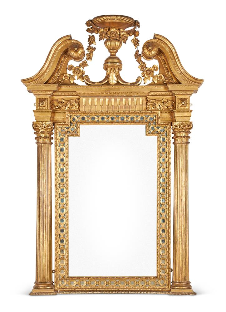 AN IRISH CARVED GILTWOOD PIER GLASS, IN THE MANNER OF JOHN AND FRANCIS BOOKER OF DUBLIN
