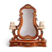 A WALNUT AND GILT-METAL MOUNTED DRESSING TABLE MIRROR