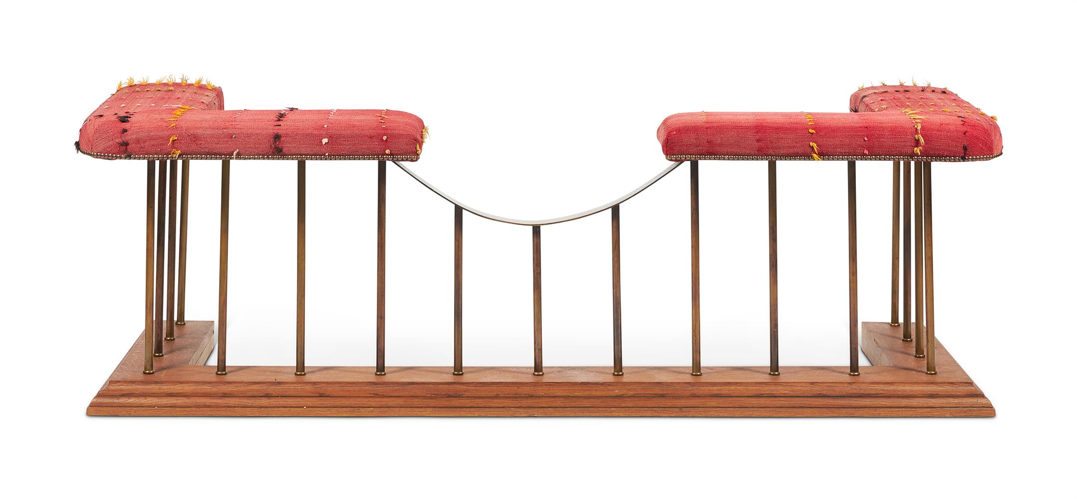 A BRASS OAK AND UPHOLSTERED CLUB FENDER, 20TH CENTURY