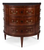 A NORTH EUROPEAN MAHOGANY AND BRASS INLAID DEMI-LUNE COMMODE, EARLY 19TH CENTURY