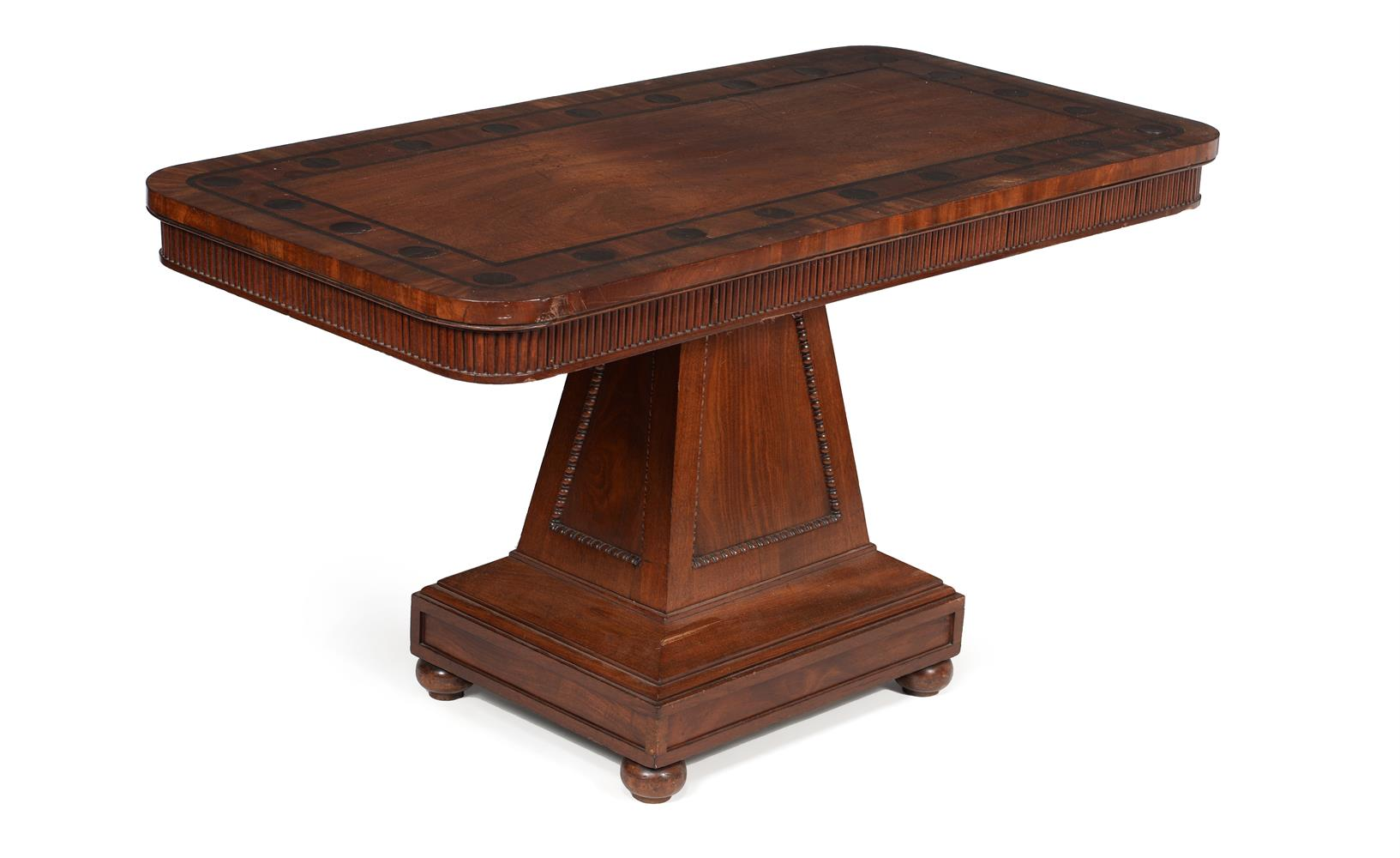 Y A PAIR OF REGENCY MAHOGANY AND MACASSAR EBONY INLAID LIBRARY OR SIDE TABLES, CIRCA 1820 - Image 2 of 5