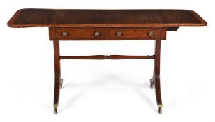 Y A REGENCY FIDDLE-BACK MAHOGANY, SATINWOOD AND ROSEWOOD CROSSBANDED SOFA TABLE, CIRCA 1815
